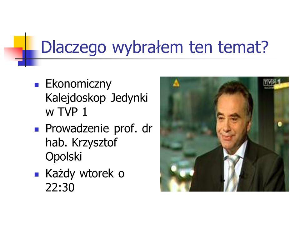 Dlaczego wybrałem ten temat.Ekonomiczny Kalejdoskop Jedynki w TVP 1 Prowadzenie prof.