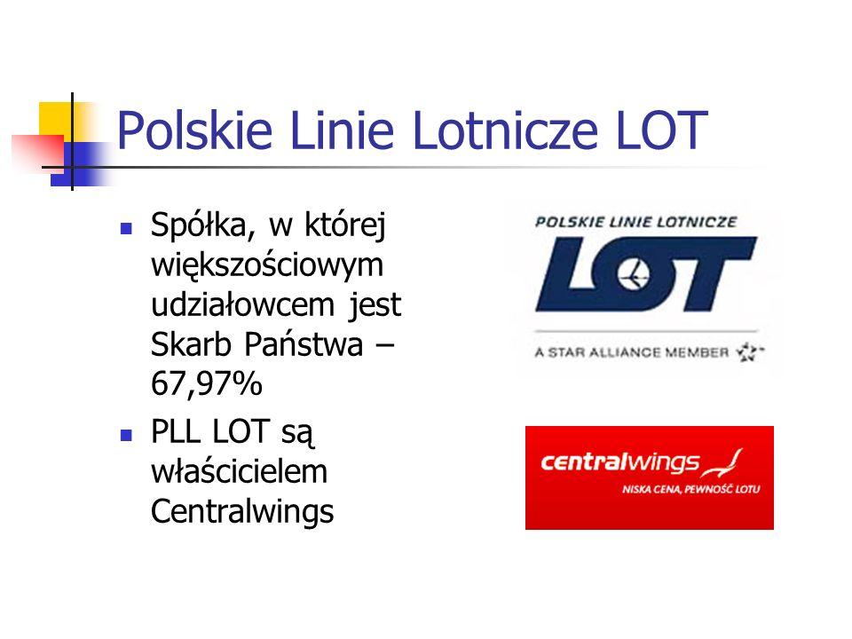 Polskie Linie Lotnicze LOT Spółka, w której większościowym udziałowcem jest Skarb Państwa – 67,97% PLL LOT są właścicielem Centralwings