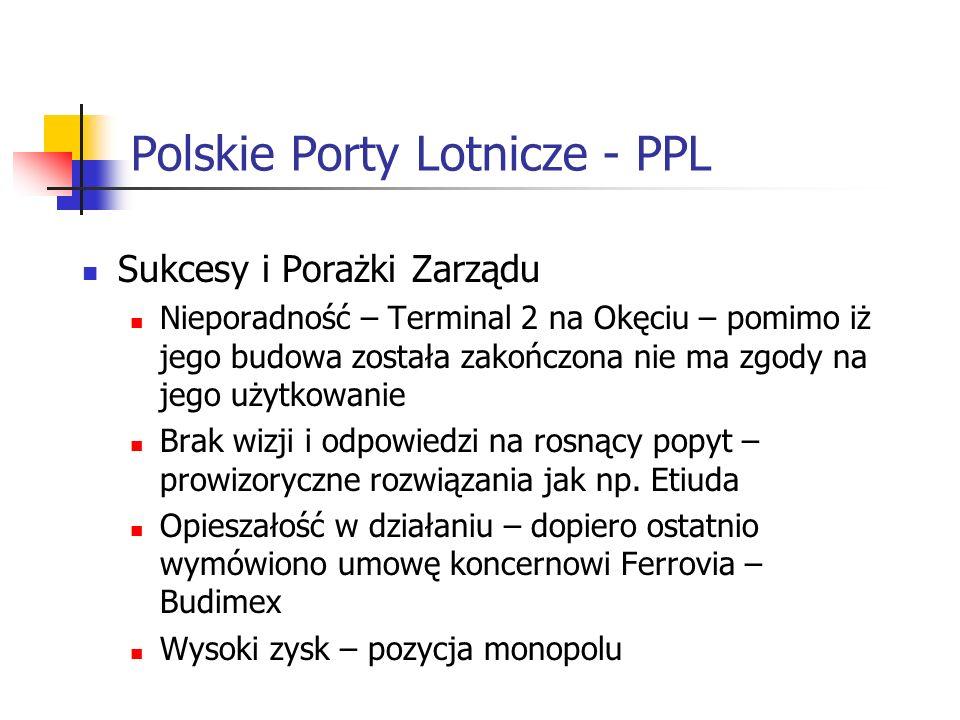 Polskie Porty Lotnicze - PPL Sukcesy i Porażki Zarządu Nieporadność – Terminal 2 na Okęciu – pomimo iż jego budowa została zakończona nie ma zgody na jego użytkowanie Brak wizji i odpowiedzi na rosnący popyt – prowizoryczne rozwiązania jak np.