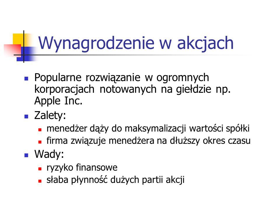 Wynagrodzenie w akcjach Popularne rozwiązanie w ogromnych korporacjach notowanych na giełdzie np.