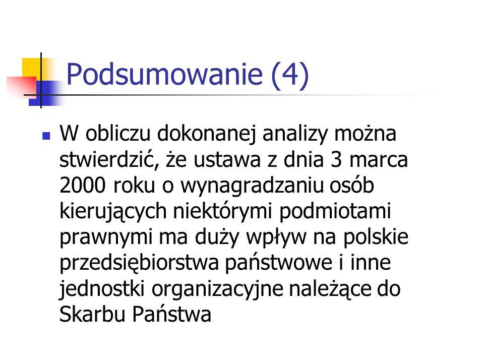 Podsumowanie (4) W obliczu dokonanej analizy można stwierdzić, że ustawa z dnia 3 marca 2000 roku o wynagradzaniu osób kierujących niektórymi podmiotami prawnymi ma duży wpływ na polskie przedsiębiorstwa państwowe i inne jednostki organizacyjne należące do Skarbu Państwa
