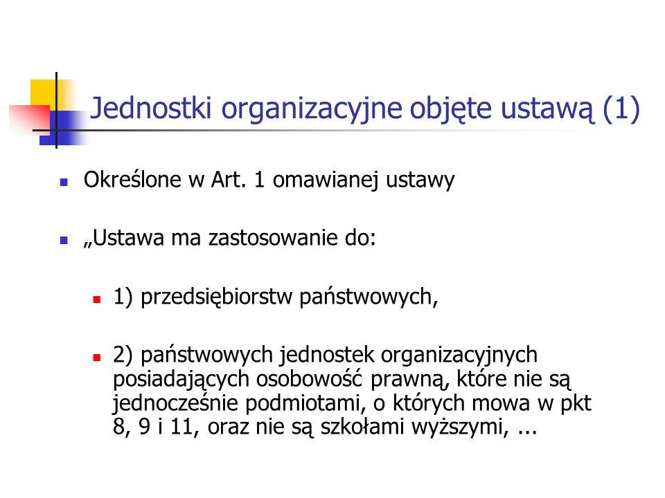 Jednostki organizacyjne objęte ustawą (1) Określone w Art.