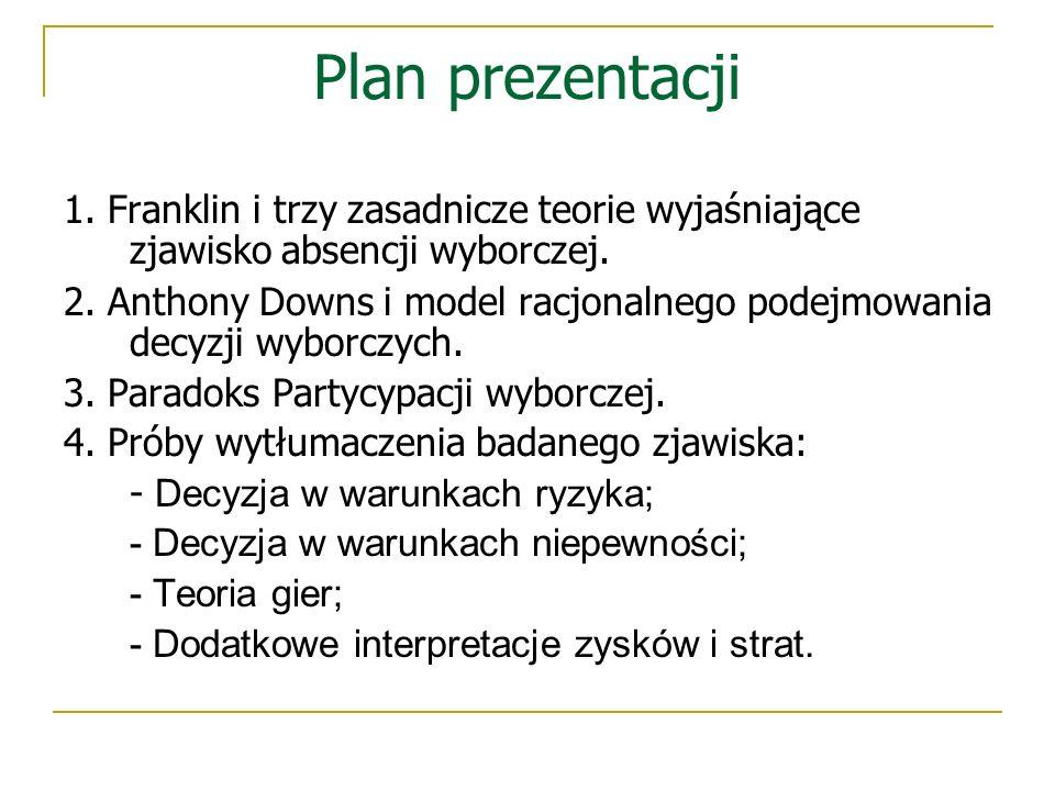 Plan prezentacji 1. Franklin i trzy zasadnicze teorie wyjaśniające zjawisko absencji wyborczej. 2. Anthony Downs i model racjonalnego podejmowania dec
