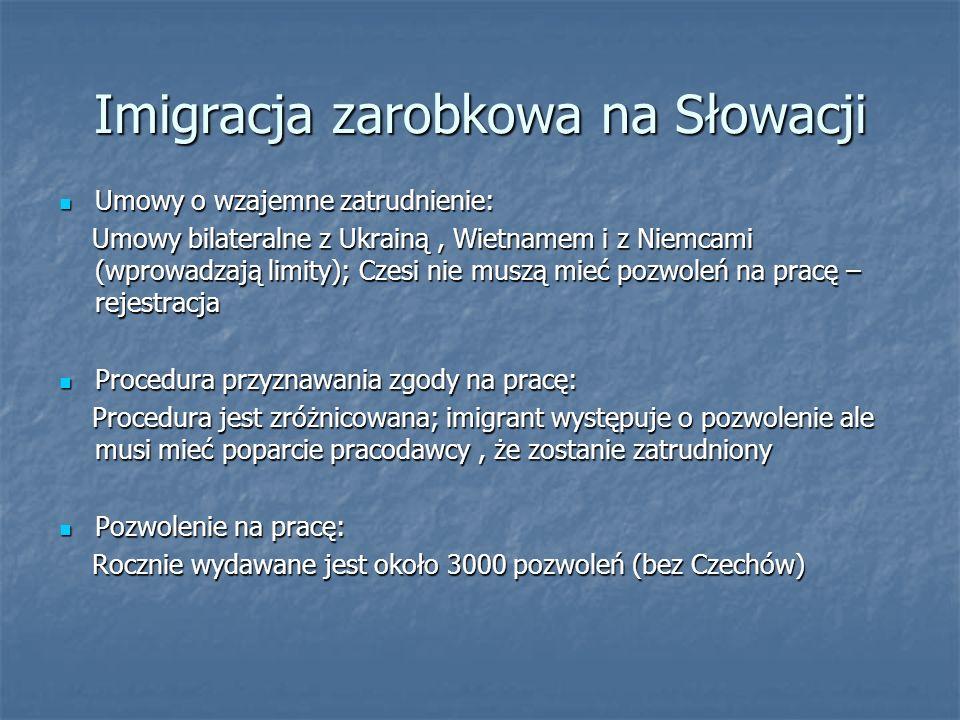 Imigracja zarobkowa na Węgrzech Umowy o wzajemne zatrudnienie: Umowy o wzajemne zatrudnienie: Pierwsza grupa umów – z krajami zachodnimi (wyjazdy) Pierwsza grupa umów – z krajami zachodnimi (wyjazdy) Druga grupa umów – wymiana pracowników (Czechy, Słowacja, Rumunia) Druga grupa umów – wymiana pracowników (Czechy, Słowacja, Rumunia) Procedura przyznawania zgody na pracę: Procedura przyznawania zgody na pracę: Wniosek składa pracodawca i udowadnia że znalazł pracownika o wymaganych kwalifikacjach Wniosek składa pracodawca i udowadnia że znalazł pracownika o wymaganych kwalifikacjach Pozwolenie na pracę: Pozwolenie na pracę: Liczba pozwoleń jest relatywnie wysoka – dominują pozwolenia dla obywateli Rumunii Liczba pozwoleń jest relatywnie wysoka – dominują pozwolenia dla obywateli Rumunii Zgoda na prowadzenie działalności gospodarczej: Zgoda na prowadzenie działalności gospodarczej: Rejestracja identyczna dla cudzoziemców i dla obywateli Rejestracja identyczna dla cudzoziemców i dla obywateli