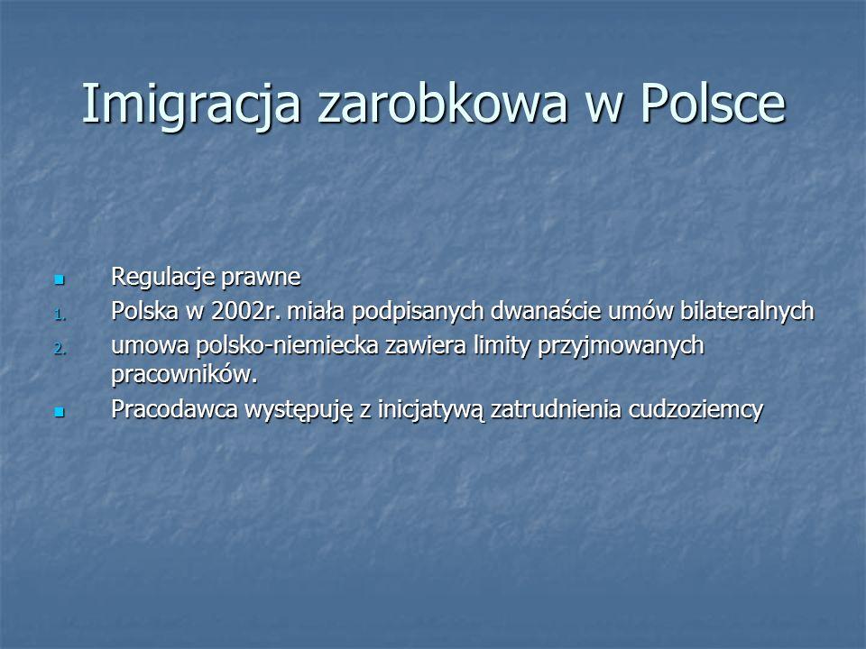 Imigracja zarobkowa w Polsce Regulacje prawne Regulacje prawne 1. Polska w 2002r. miała podpisanych dwanaście umów bilateralnych 2. umowa polsko-niemi