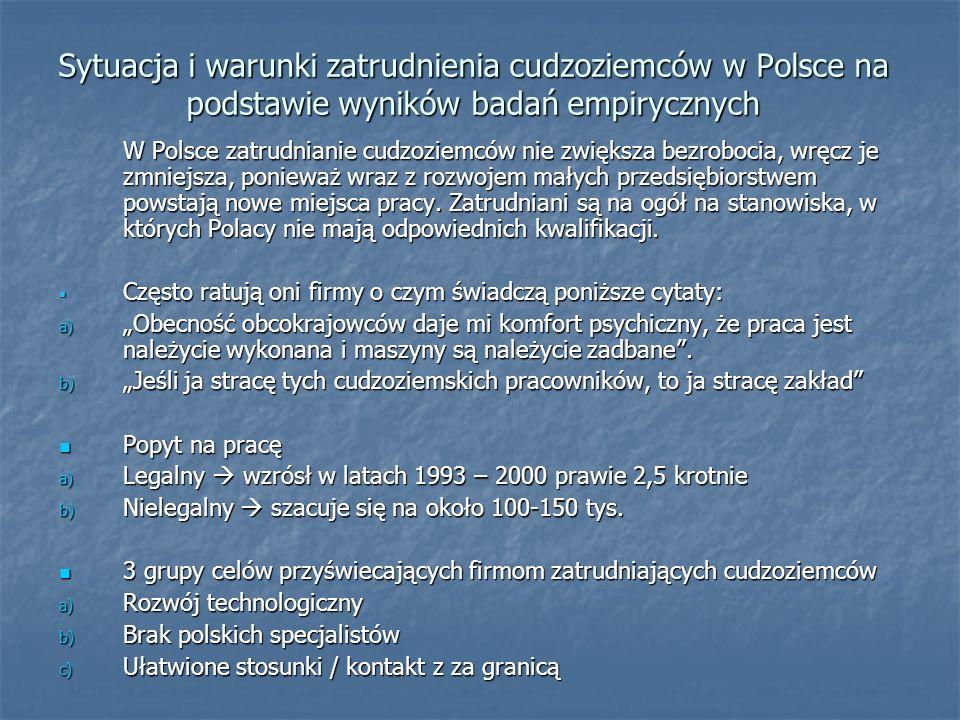 Sytuacja i warunki zatrudnienia cudzoziemców w Polsce na podstawie wyników badań empirycznych W Polsce zatrudnianie cudzoziemców nie zwiększa bezroboc