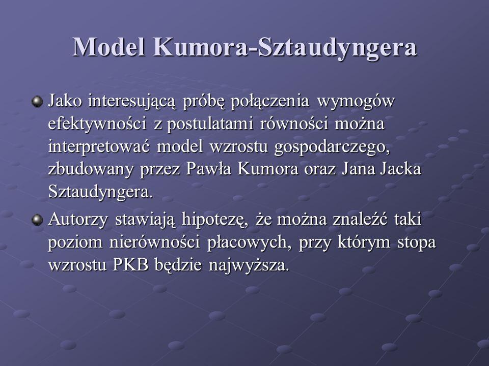 Model Kumora-Sztaudyngera Jako interesującą próbę połączenia wymogów efektywności z postulatami równości można interpretować model wzrostu gospodarcze