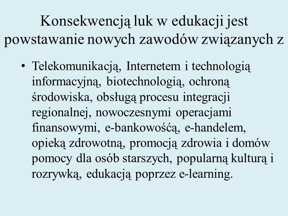 Konsekwencją luk w edukacji jest powstawanie nowych zawodów związanych z Telekomunikacją, Internetem i technologią informacyjną, biotechnologią, ochro