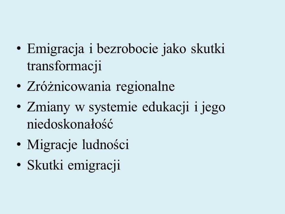 Emigracja i bezrobocie jako skutki transformacji Zróżnicowania regionalne Zmiany w systemie edukacji i jego niedoskonałość Migracje ludności Skutki em