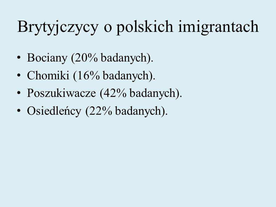 Brytyjczycy o polskich imigrantach Bociany (20% badanych). Chomiki (16% badanych). Poszukiwacze (42% badanych). Osiedleńcy (22% badanych).