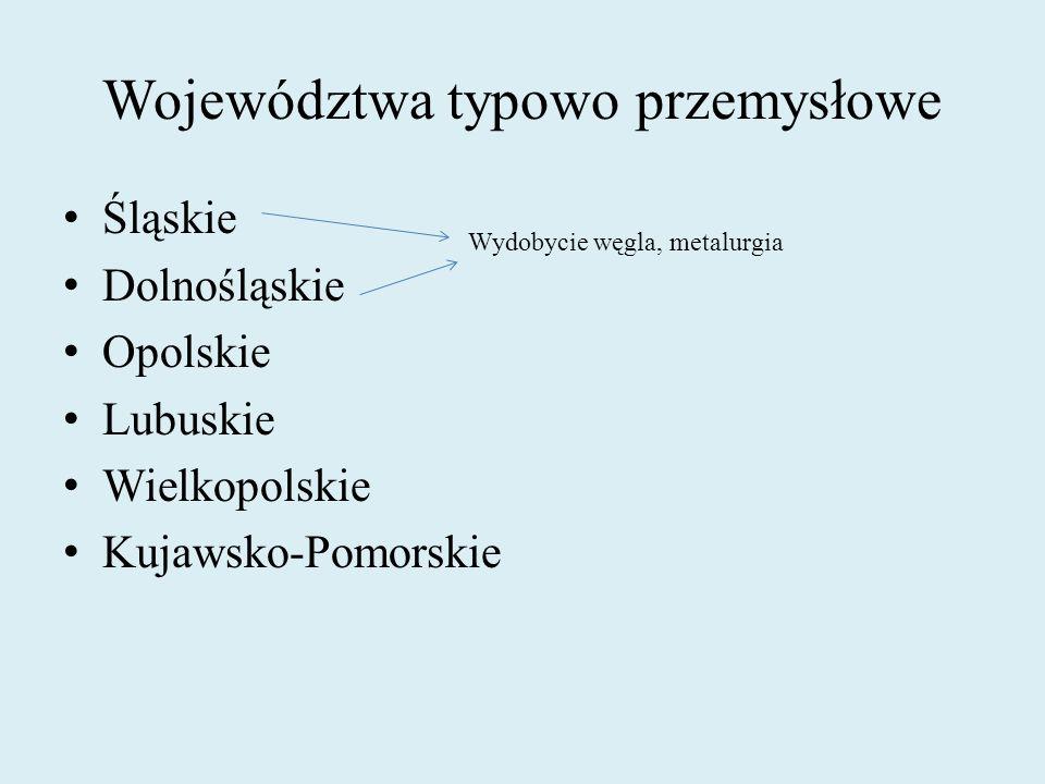 Województwa typowo przemysłowe Śląskie Dolnośląskie Opolskie Lubuskie Wielkopolskie Kujawsko-Pomorskie Wydobycie węgla, metalurgia