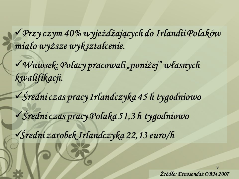 9 Przy czym 40% wyjeżdżających do Irlandii Polaków miało wyższe wykształcenie. Wniosek: Polacy pracowali poniżej własnych kwalifikacji. Średni czas pr