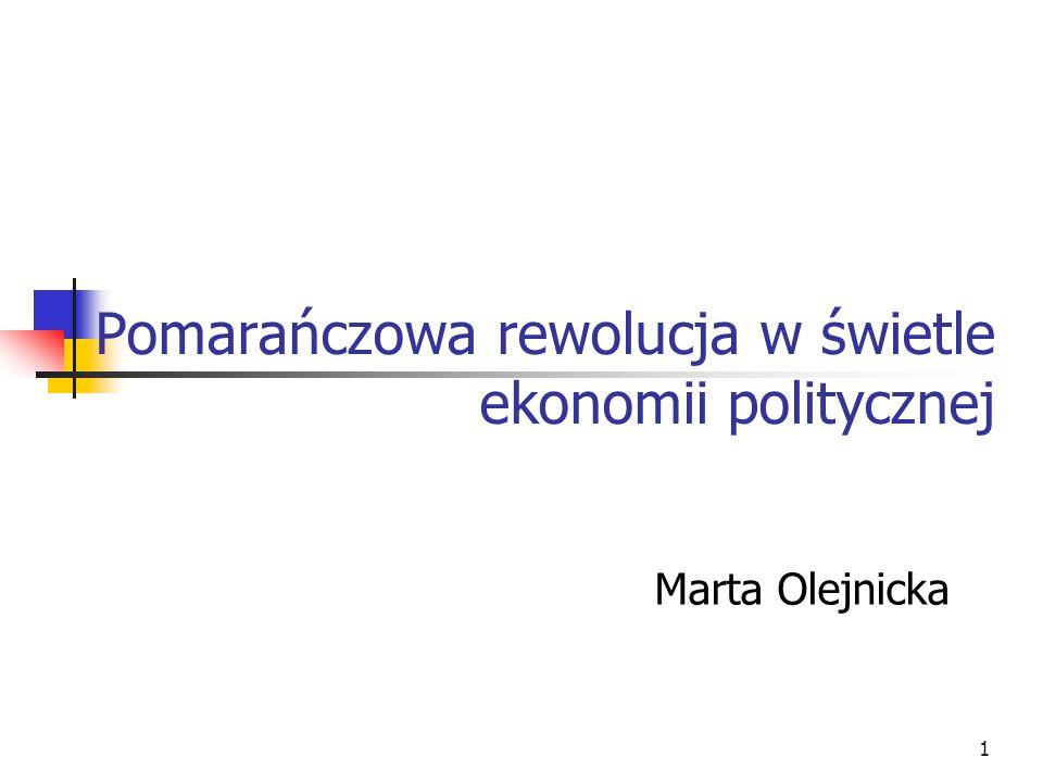 1 Pomarańczowa rewolucja w świetle ekonomii politycznej Marta Olejnicka