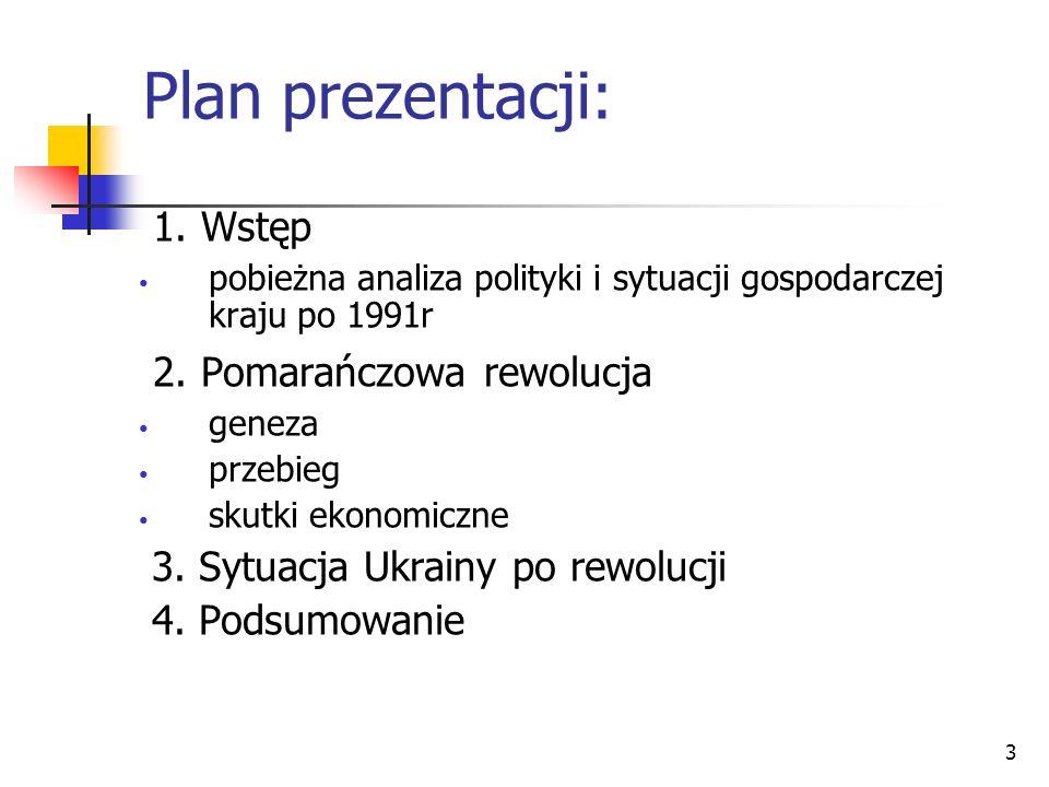 3 Plan prezentacji: 1. Wstęp pobieżna analiza polityki i sytuacji gospodarczej kraju po 1991r 2. Pomarańczowa rewolucja geneza przebieg skutki ekonomi