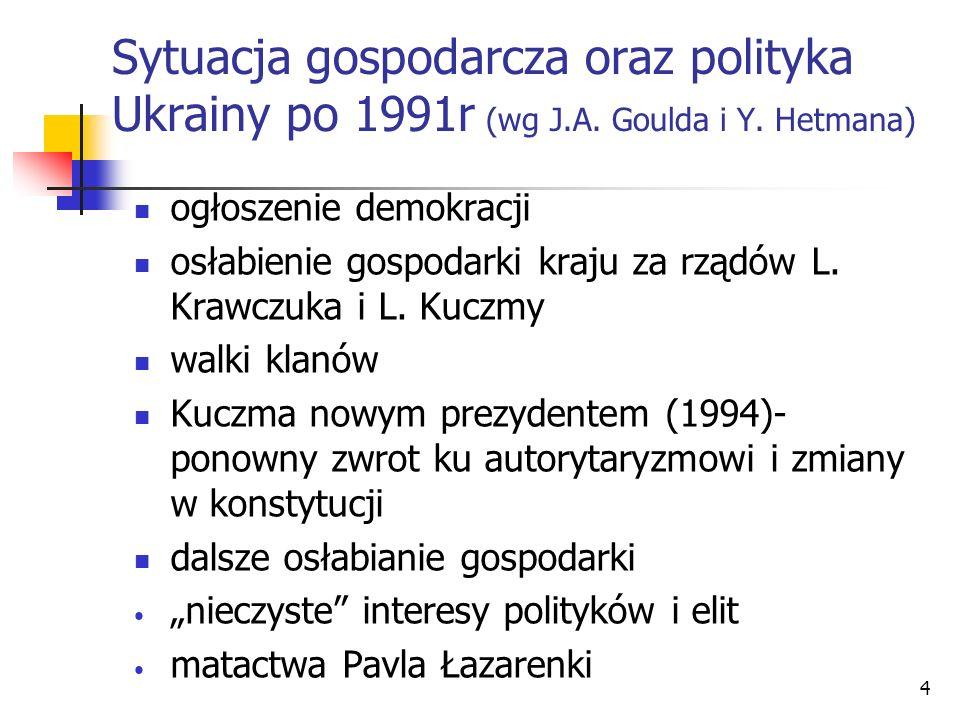 4 Sytuacja gospodarcza oraz polityka Ukrainy po 1991r (wg J.A. Goulda i Y. Hetmana) ogłoszenie demokracji osłabienie gospodarki kraju za rządów L. Kra