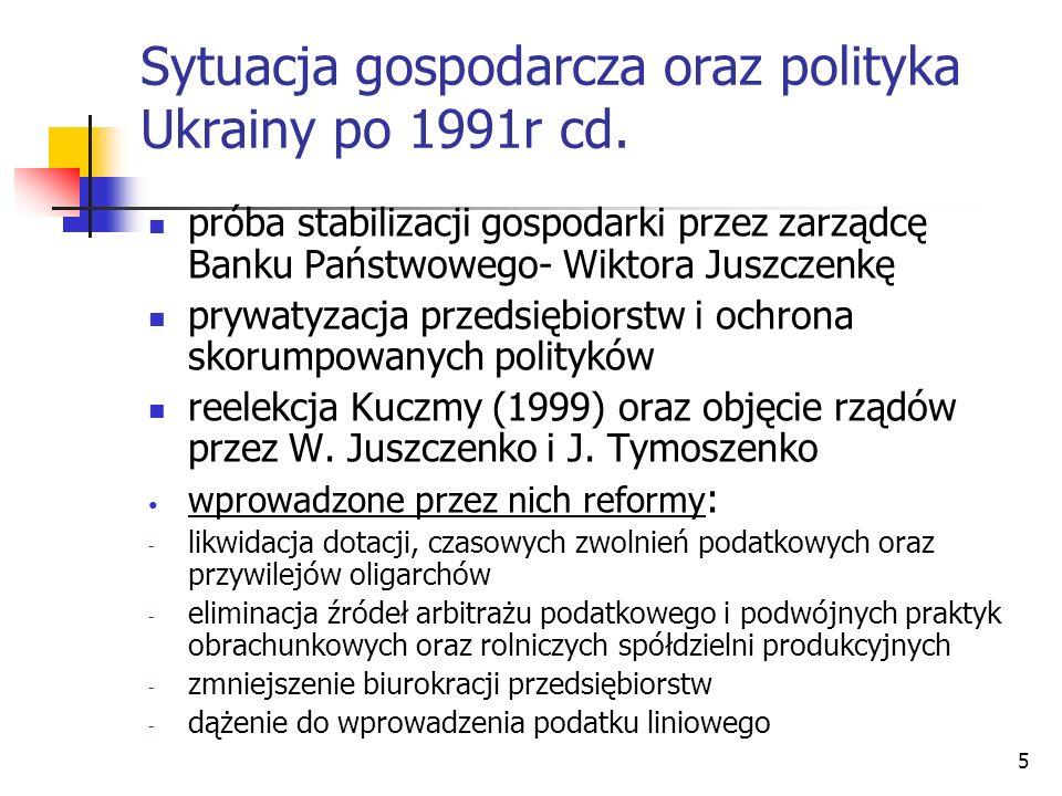 5 Sytuacja gospodarcza oraz polityka Ukrainy po 1991r cd. próba stabilizacji gospodarki przez zarządcę Banku Państwowego- Wiktora Juszczenkę prywatyza