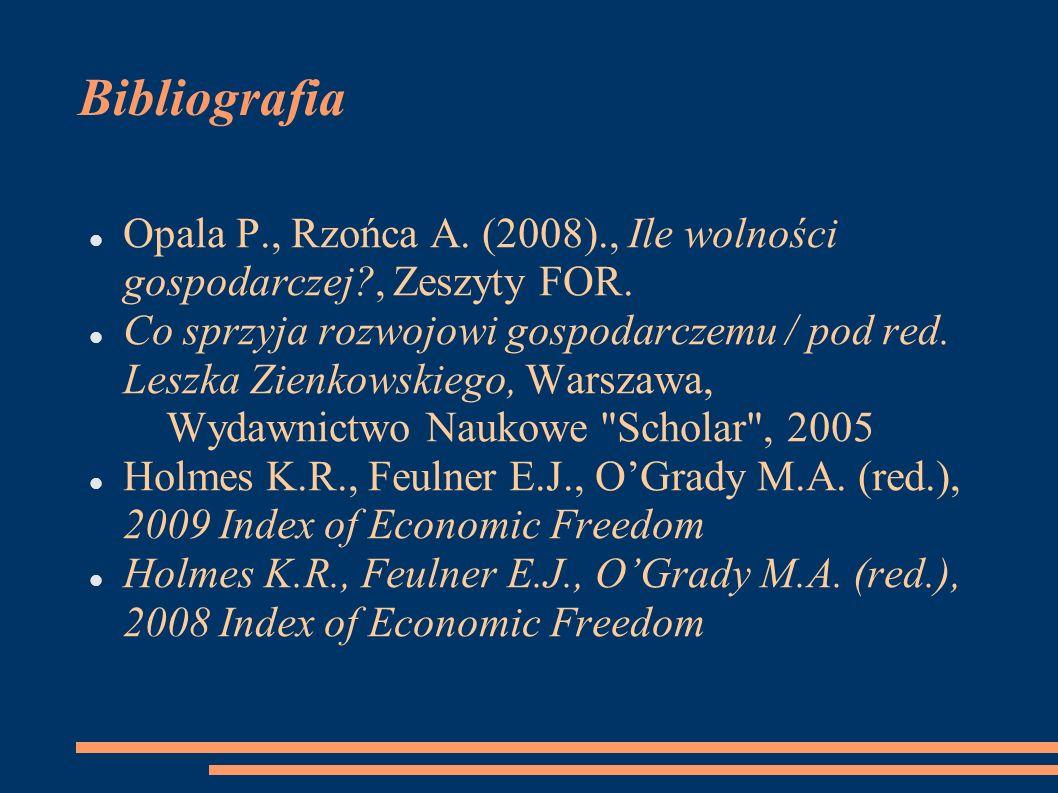 Bibliografia Opala P., Rzońca A. (2008)., Ile wolności gospodarczej?, Zeszyty FOR. Co sprzyja rozwojowi gospodarczemu / pod red. Leszka Zienkowskiego,