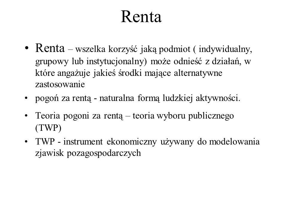 Rodzaje renty Renta ekonomiczna – forma dochodu, które wynikają z wykorzystania zasobów produkcyjnych do wytwarzania dóbr i usług (J.