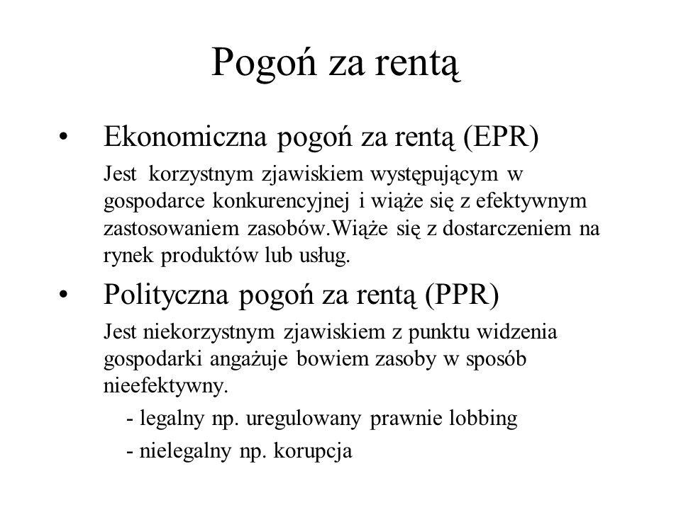 Negatywne skutki PPR PPR prowadzi do obniżenia sprawności gospodarki i pogłębiania nierówności społecznych Rezultaty powszechnego PPR to: -Monopole -Koncesje -Licencje -Sztywne ceny -Asymetria informacji -Wysokie progi wejścia do profesji