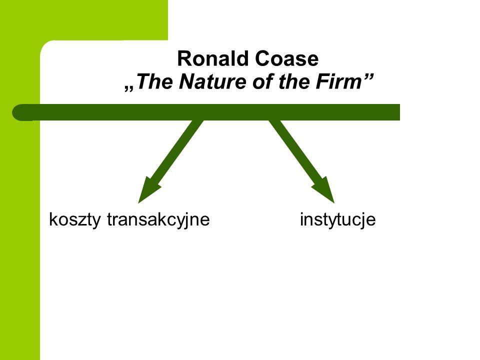 Ronald CoaseThe Nature of the Firm koszty transakcyjne instytucje