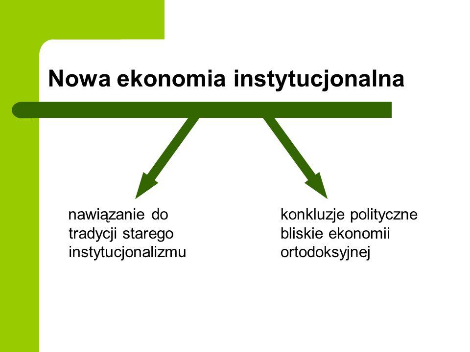 Nowa ekonomia instytucjonalna nawiązanie do tradycji starego instytucjonalizmu konkluzje polityczne bliskie ekonomii ortodoksyjnej