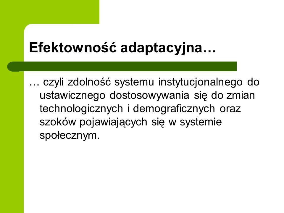 Efektowność adaptacyjna… … czyli zdolność systemu instytucjonalnego do ustawicznego dostosowywania się do zmian technologicznych i demograficznych ora