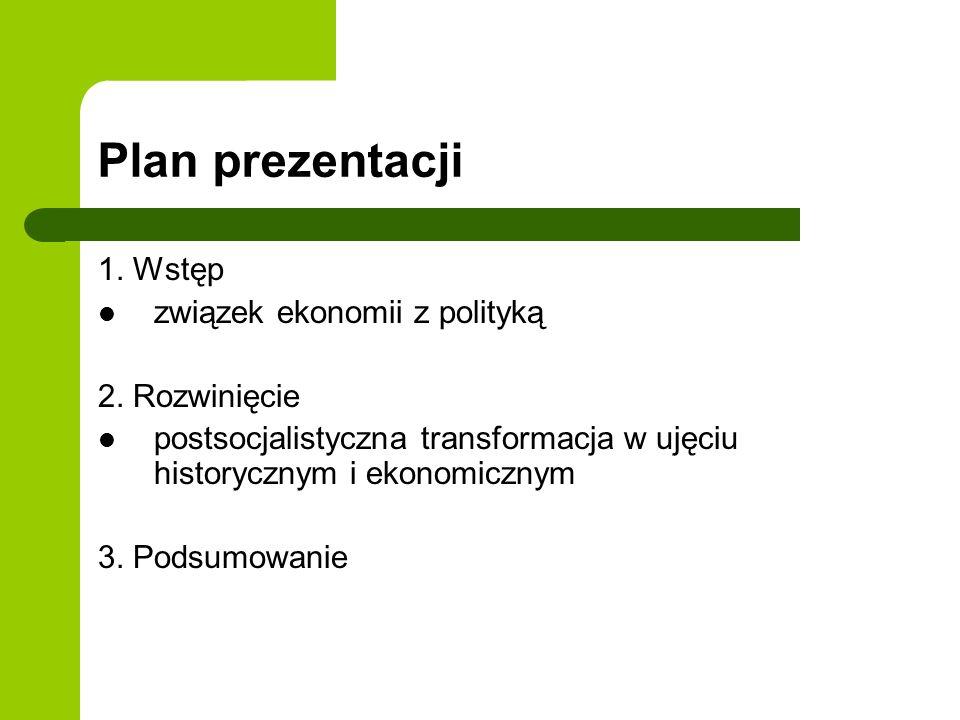 Plan prezentacji 1. Wstęp związek ekonomii z polityką 2. Rozwinięcie postsocjalistyczna transformacja w ujęciu historycznym i ekonomicznym 3. Podsumow