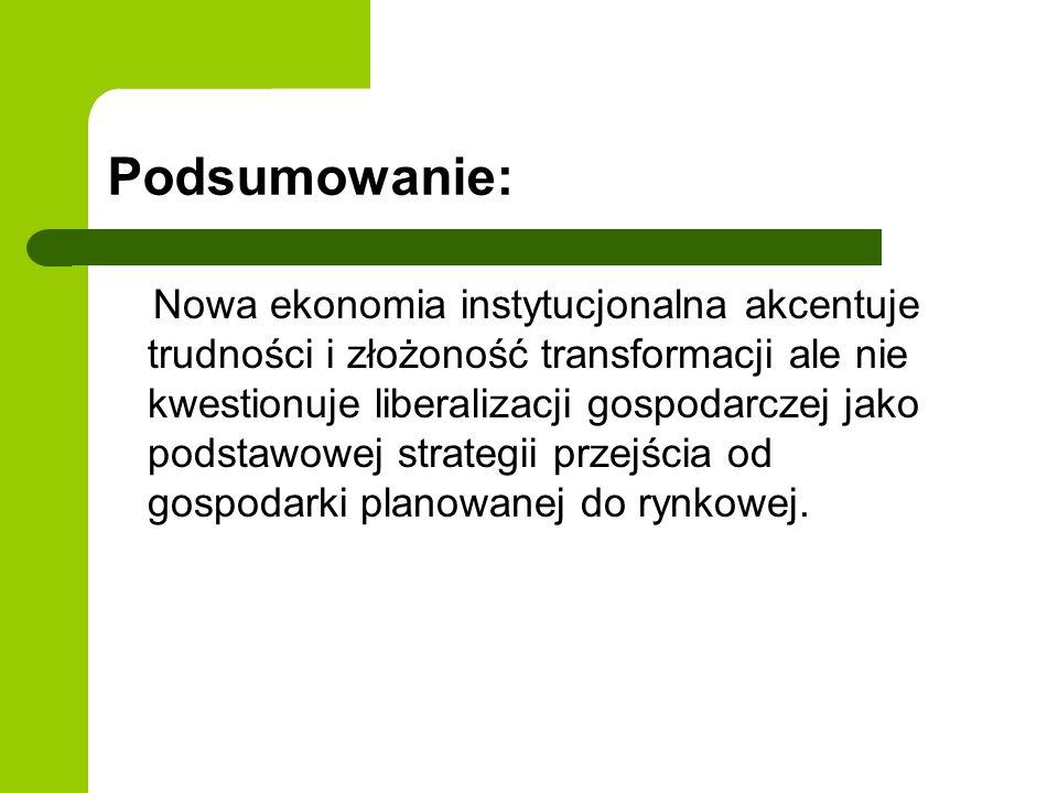 Podsumowanie: Nowa ekonomia instytucjonalna akcentuje trudności i złożoność transformacji ale nie kwestionuje liberalizacji gospodarczej jako podstawo