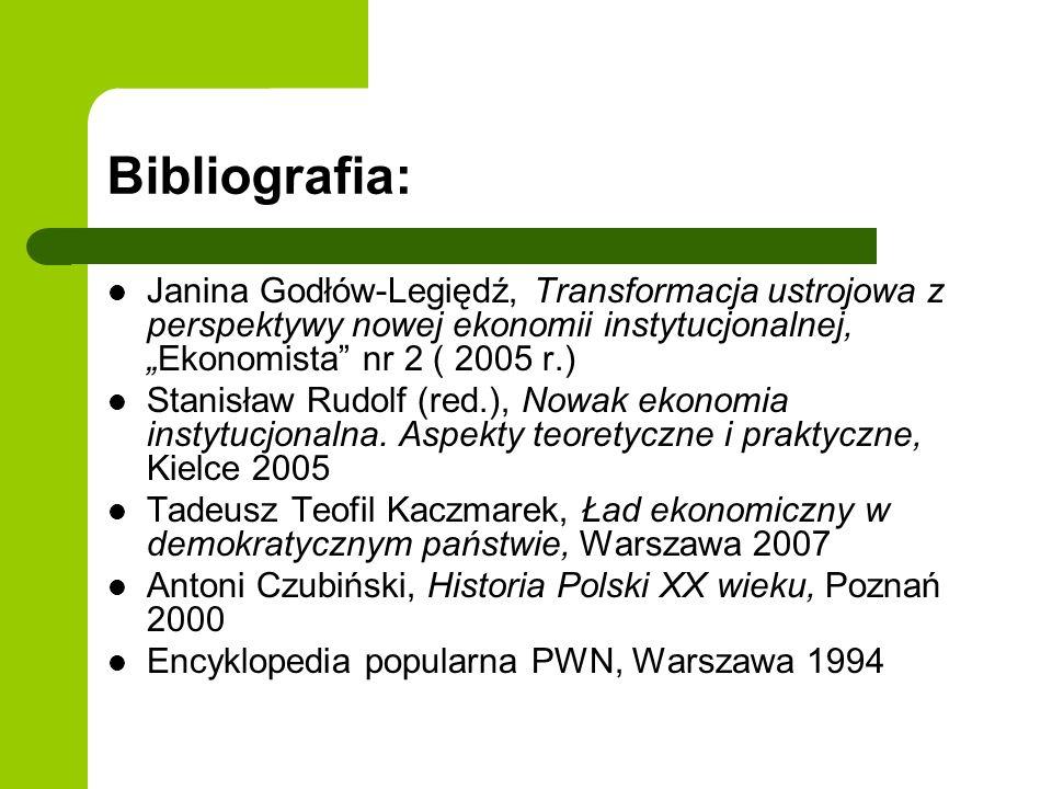 Bibliografia: Janina Godłów-Legiędź, Transformacja ustrojowa z perspektywy nowej ekonomii instytucjonalnej,Ekonomista nr 2 ( 2005 r.) Stanisław Rudolf