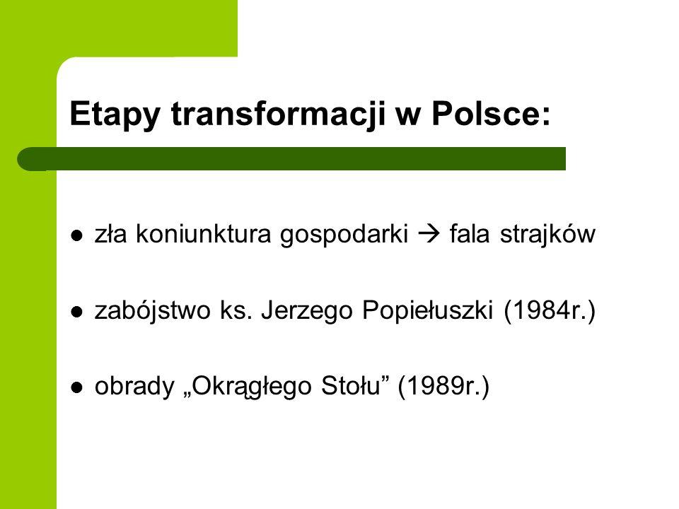 Etapy transformacji w Polsce: zła koniunktura gospodarki fala strajków zabójstwo ks. Jerzego Popiełuszki (1984r.) obrady Okrągłego Stołu (1989r.)