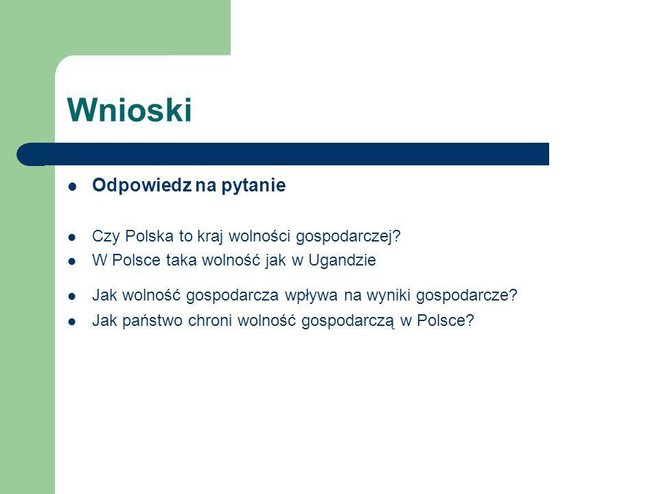 Wnioski Odpowiedz na pytanie Czy Polska to kraj wolności gospodarczej? W Polsce taka wolność jak w Ugandzie Jak wolność gospodarcza wpływa na wyniki g