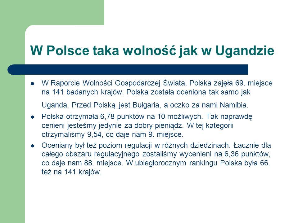 W Polsce taka wolność jak w Ugandzie W Raporcie Wolności Gospodarczej Świata, Polska zajęła 69. miejsce na 141 badanych krajów. Polska została ocenion