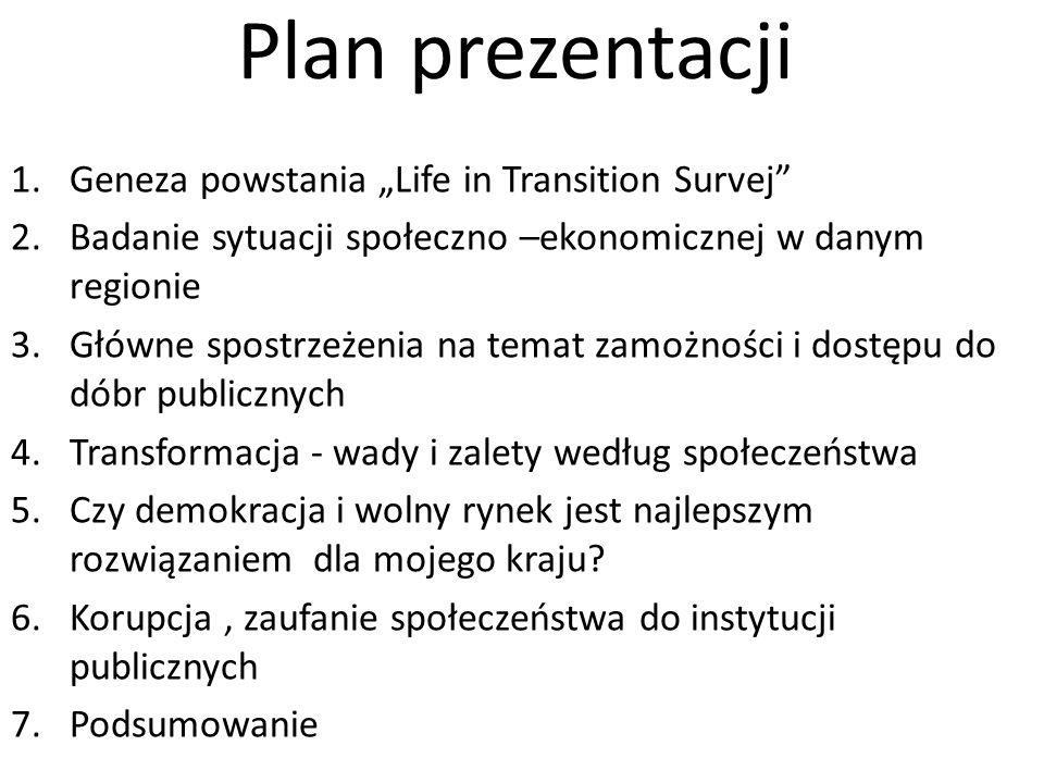 Plan prezentacji 1.Geneza powstania Life in Transition Survej 2.Badanie sytuacji społeczno –ekonomicznej w danym regionie 3.Główne spostrzeżenia na te