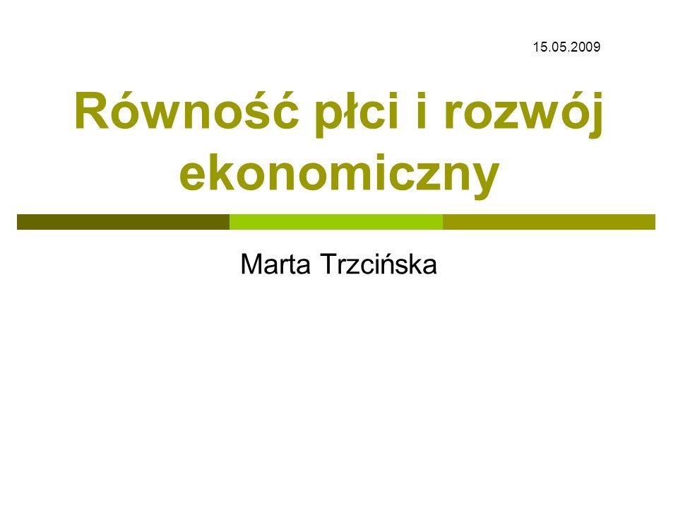 Równość płci i rozwój ekonomiczny Marta Trzcińska 15.05.2009