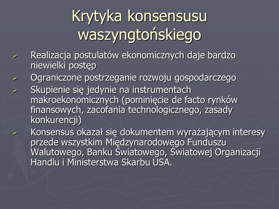 Krytyka konsensusu waszyngtońskiego Realizacja postulatów ekonomicznych daje bardzo niewielki postęp Realizacja postulatów ekonomicznych daje bardzo n