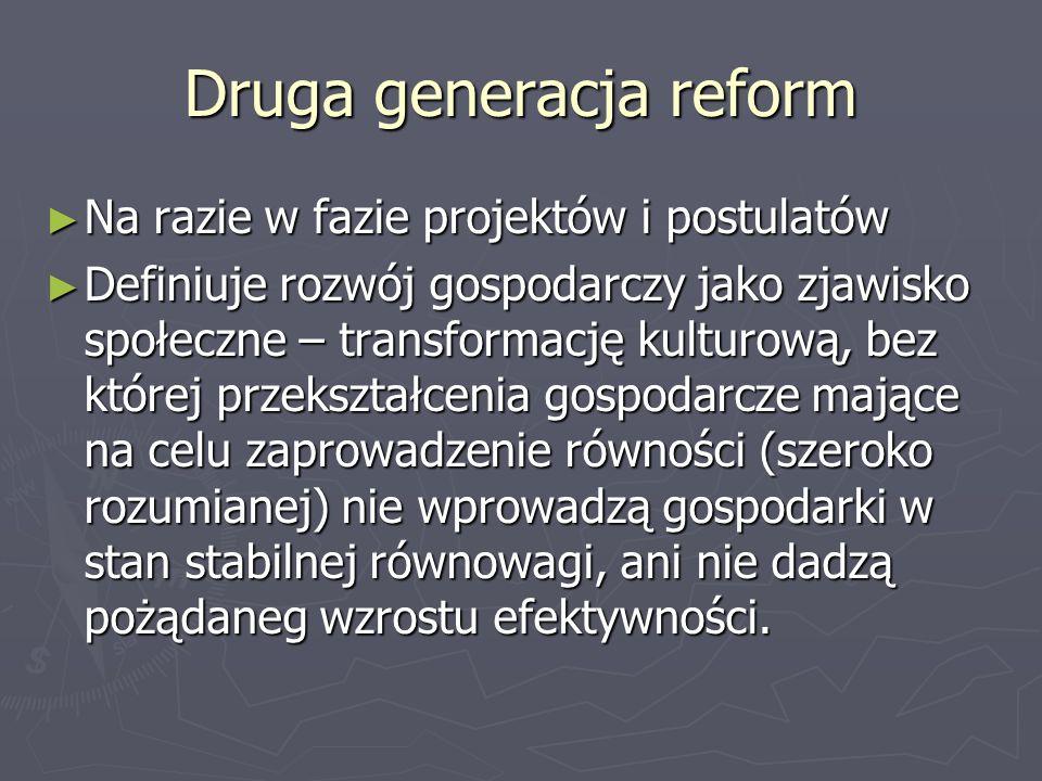Druga generacja reform Na razie w fazie projektów i postulatów Na razie w fazie projektów i postulatów Definiuje rozwój gospodarczy jako zjawisko społ