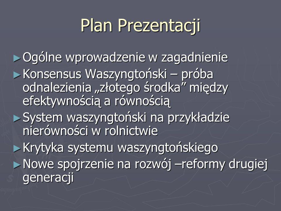 Plan Prezentacji Ogólne wprowadzenie w zagadnienie Ogólne wprowadzenie w zagadnienie Konsensus Waszyngtoński – próba odnalezienia złotego środka międz