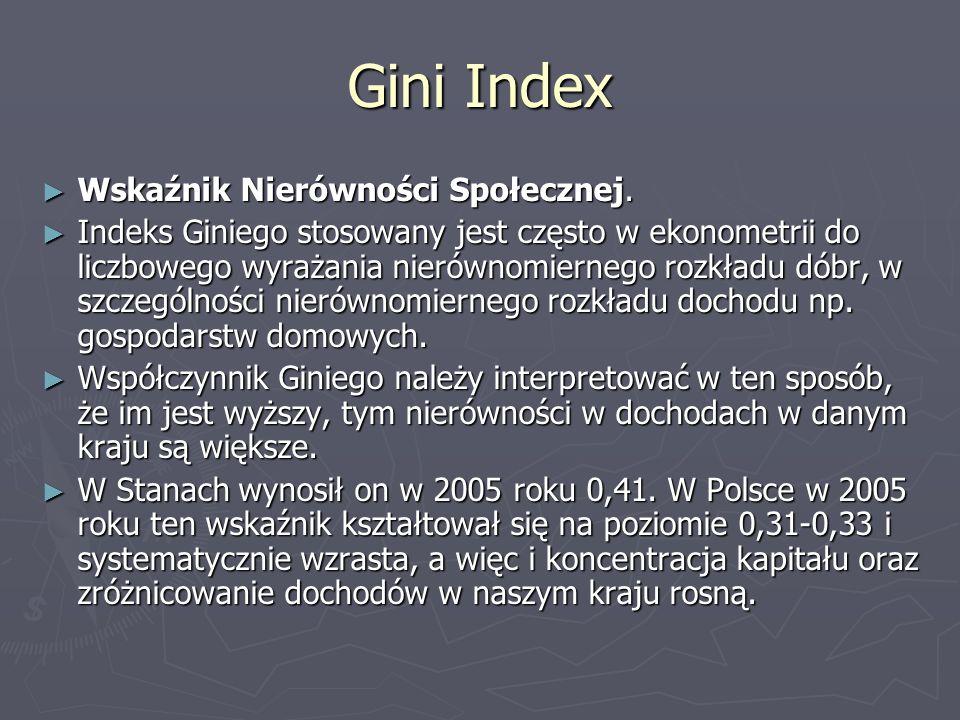 Gini Index Wskaźnik Nierówności Społecznej. Wskaźnik Nierówności Społecznej. Indeks Giniego stosowany jest często w ekonometrii do liczbowego wyrażani
