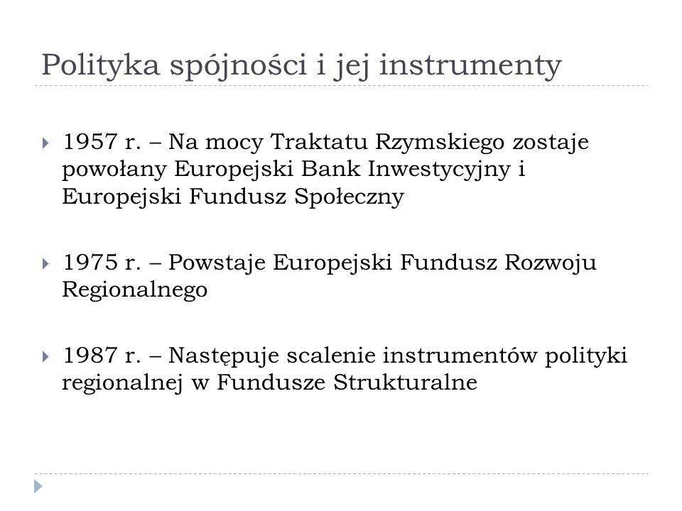 Polityka spójności i jej instrumenty 1957 r. – Na mocy Traktatu Rzymskiego zostaje powołany Europejski Bank Inwestycyjny i Europejski Fundusz Społeczn