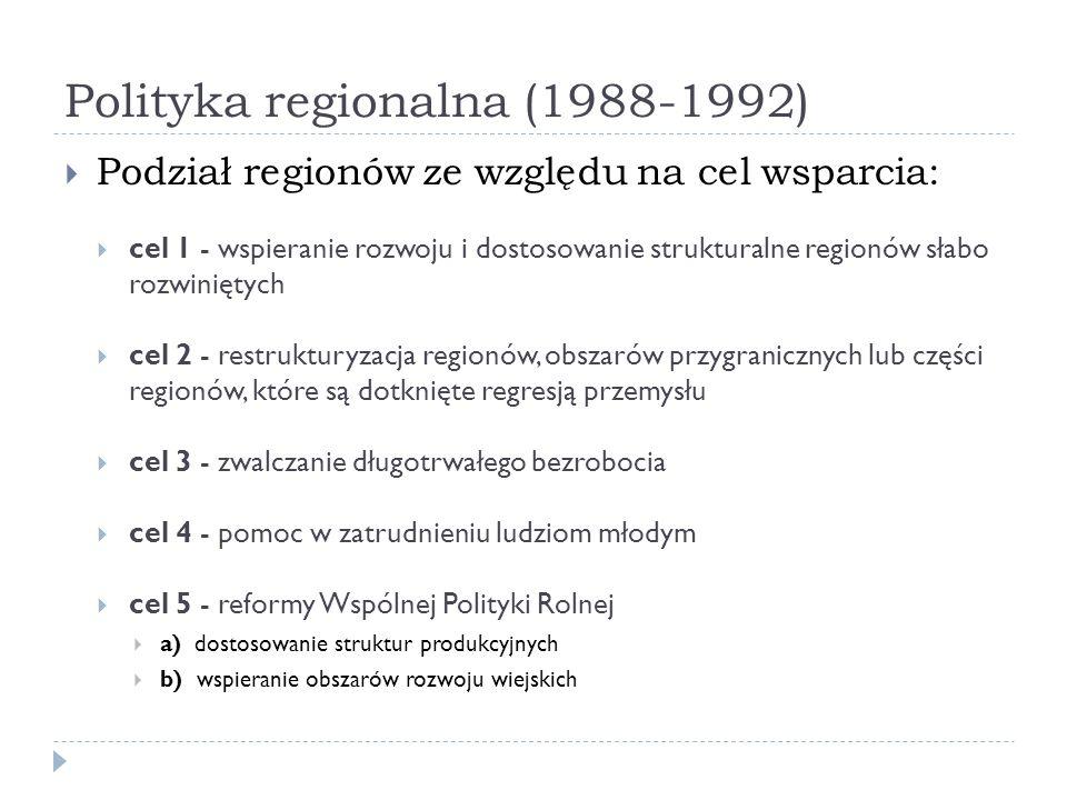 Polityka regionalna (1988-1992) Podział regionów ze względu na cel wsparcia: cel 1 - wspieranie rozwoju i dostosowanie strukturalne regionów słabo roz