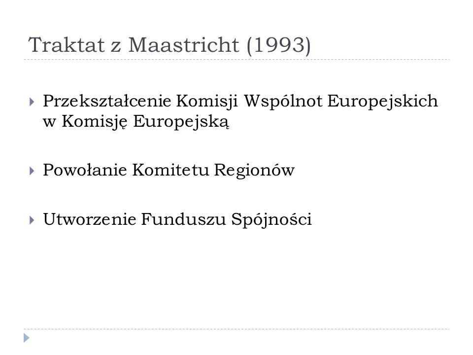 Traktat z Maastricht (1993) Przekształcenie Komisji Wspólnot Europejskich w Komisję Europejską Powołanie Komitetu Regionów Utworzenie Funduszu Spójnoś