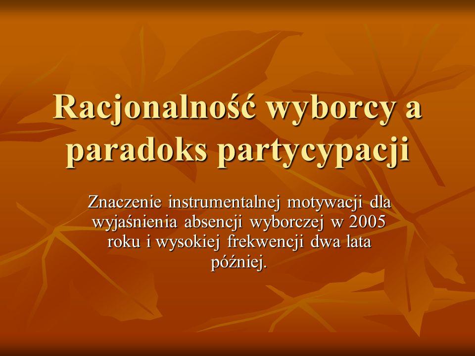 Racjonalność wyborcy a paradoks partycypacji Znaczenie instrumentalnej motywacji dla wyjaśnienia absencji wyborczej w 2005 roku i wysokiej frekwencji