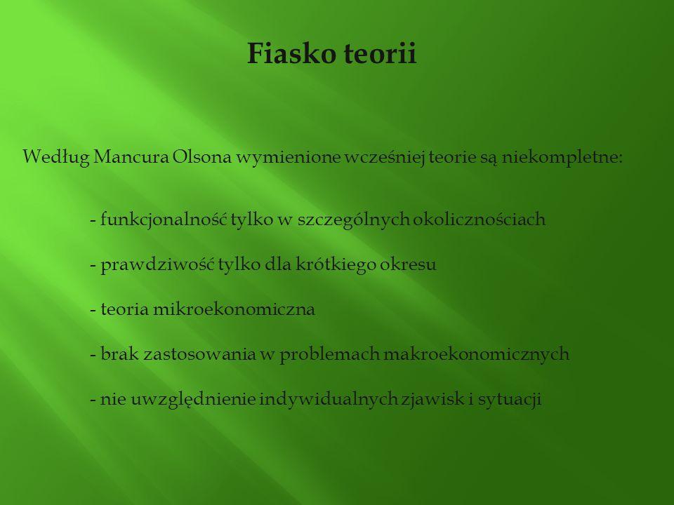 Fiasko teorii Według Mancura Olsona wymienione wcześniej teorie są niekompletne: - funkcjonalność tylko w szczególnych okolicznościach - prawdziwość t