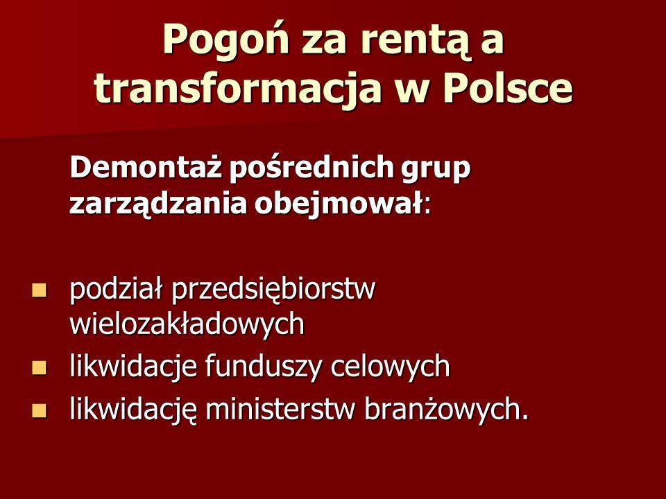 Pogoń za rentą a transformacja w Polsce Demontaż pośrednich grup zarządzania obejmował: podział przedsiębiorstw wielozakładowych podział przedsiębiors