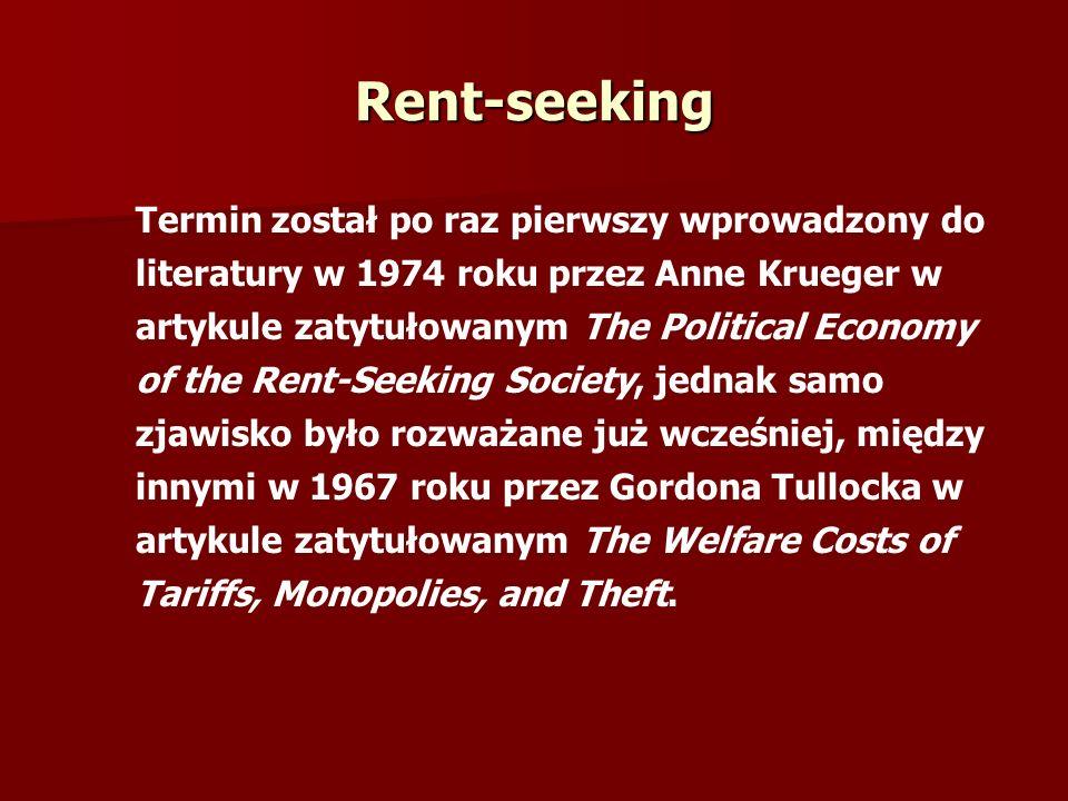 Rent-seeking Termin został po raz pierwszy wprowadzony do literatury w 1974 roku przez Anne Krueger w artykule zatytułowanym The Political Economy of
