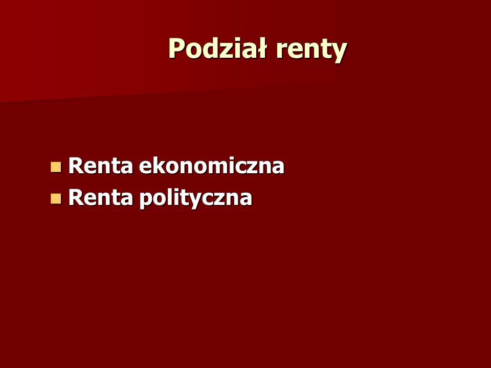 Podział renty Renta ekonomiczna Renta ekonomiczna Renta polityczna Renta polityczna