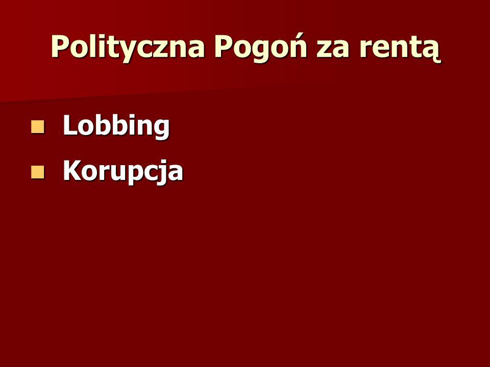 Polityczna Pogoń za rentą Lobbing Lobbing Korupcja Korupcja