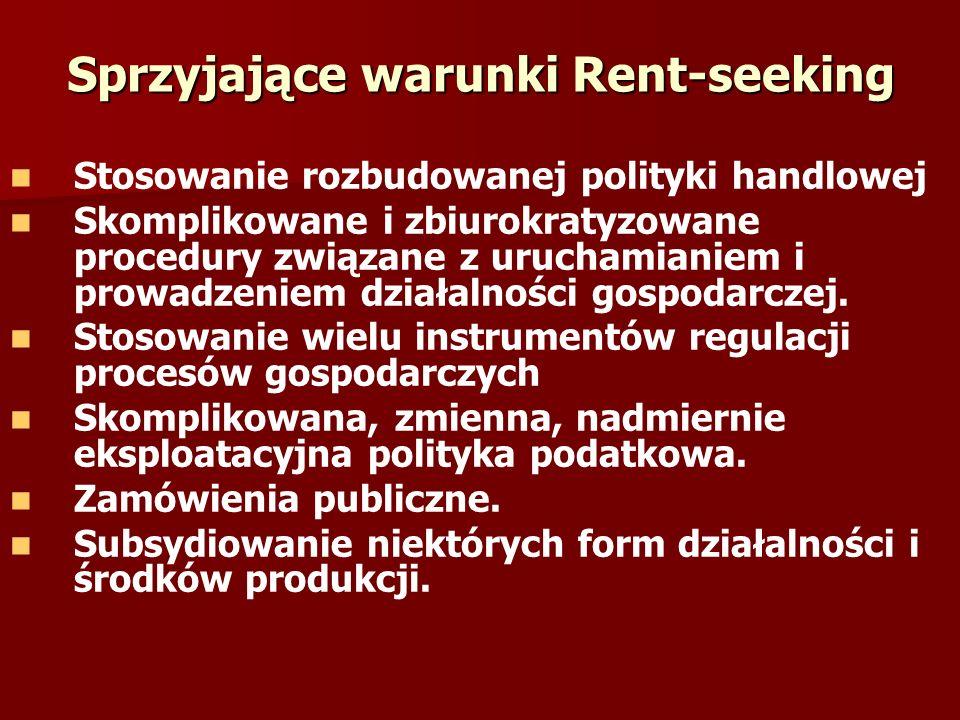 Sprzyjające warunki Rent-seeking Stosowanie rozbudowanej polityki handlowej Skomplikowane i zbiurokratyzowane procedury związane z uruchamianiem i pro