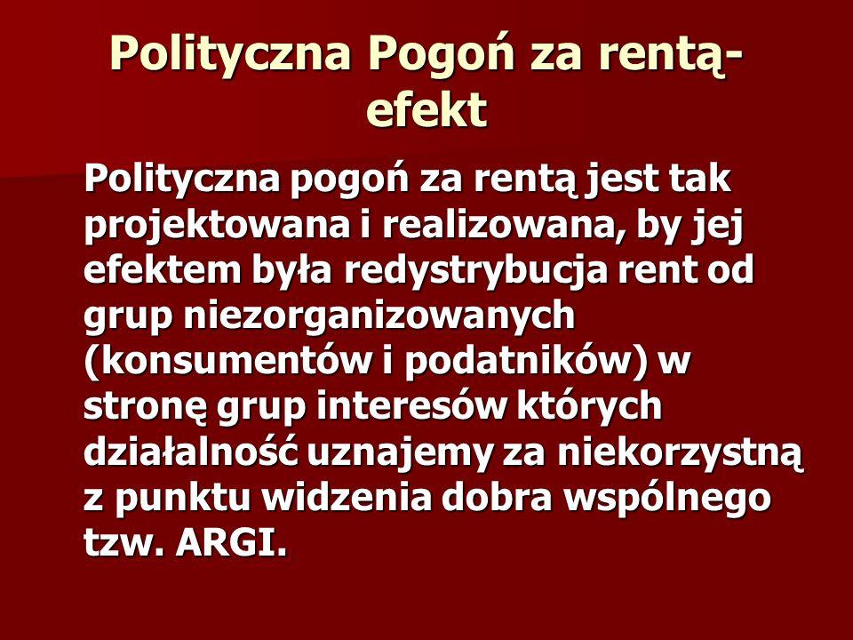 Polityczna Pogoń za rentą- efekt Polityczna pogoń za rentą jest tak projektowana i realizowana, by jej efektem była redystrybucja rent od grup niezorg