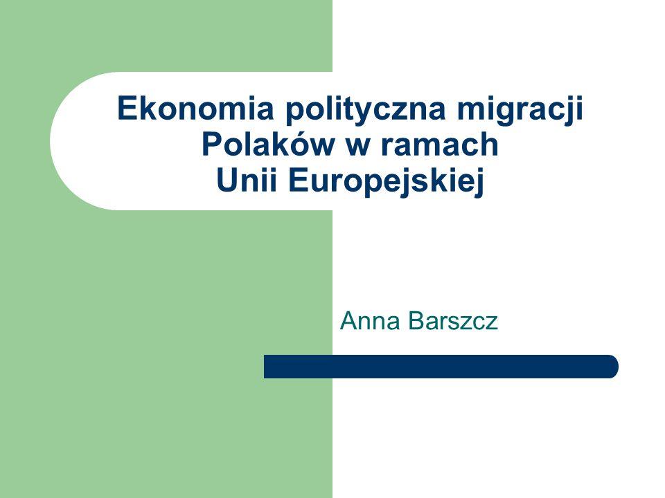 Ekonomia polityczna migracji Polaków w ramach Unii Europejskiej Anna Barszcz